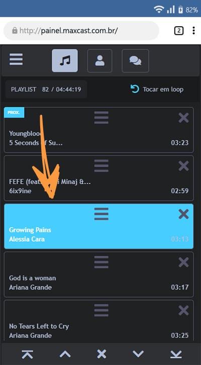Como gerenciar a playlist do studio online celular