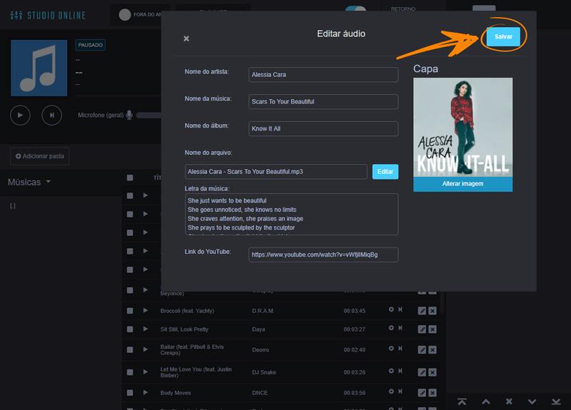 Como editar as Informações da música