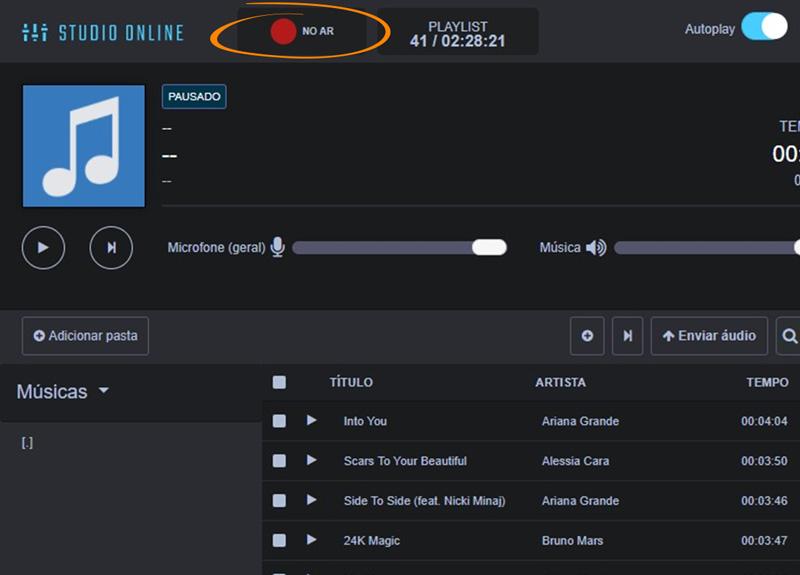 Como iniciar a transmissão ao vivo
