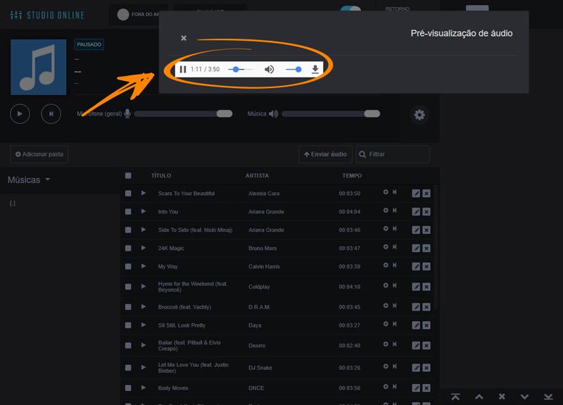 Como ouvir as músicas antes de adicionar a playlist