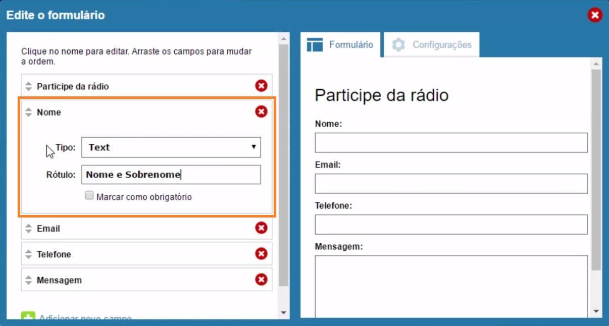 como usar formulário da radio