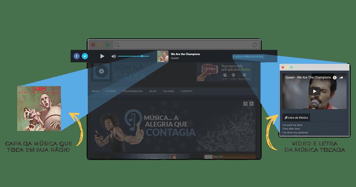 Player de rádio com capa, letra e vídeo