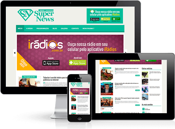 Sites responsivos para Web Rádio. PC, tablets e smartphones